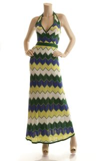 BCBG MAX AZRIA EVERGREEN COMBO KNIT SILK HALTER MAXI DRESS XS