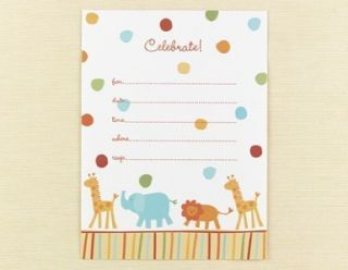 25 Jungle Animal Baby Shower Party Invitation Cards Lot
