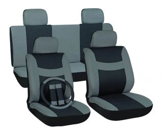 13pc Set Gray Black Auto Car Seat Covers Free Steering Wheel Belt Pad
