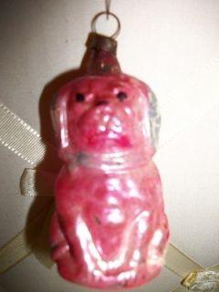 VINTAGE PINK PEKINGESE DOG MERCURY GLASS CHRISTMAS ORNAMENT.