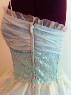 Prom Betsey Johnson Original Size 6 Dress Aquamarine Off White Sequins