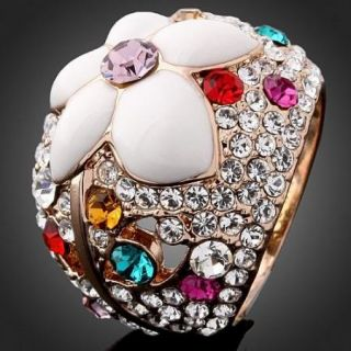 ARINNA Multi Swarovski Crystal Enamel Rose Gold GP Ring