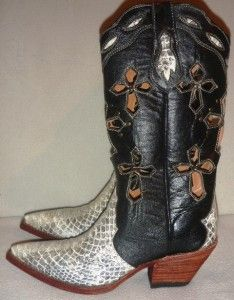 New Ferrini Black Leather White Python Cross Western Cowboy Boots