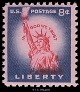 Scott 1041B Statue Liberty Rotary Press 1954 Variety 22 9 mm High MNH
