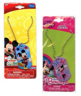 Minnie Mouse Kids Dog Tag Necklace Birthday Party Favors Prizes