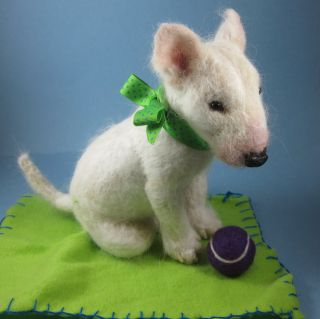 Orig Needle Felted Cute Baby Bull Terrier Puppy Dog by Artist Robin