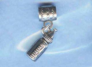 Silver Baby Bottle Bead Fits European Charm Bracelets