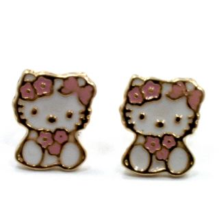 18K GF Baby Girl Childs Kids Pink Flower Hello Kitty Earrings