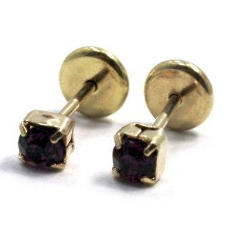 Gold 18K GF Earrings Baby Girl Jet Black Azabache Crystal Square 3mm