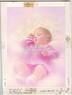 Pretty in Pink Baby GIRL Child NORCROSS Greeting Card Painting Illus