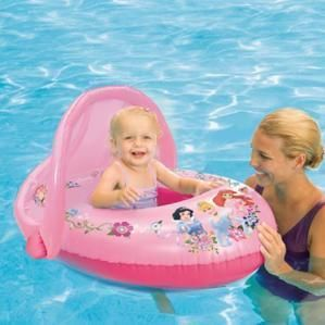 Princess Pink Inflatable Swimming Pool Baby Float with Sun Canopy