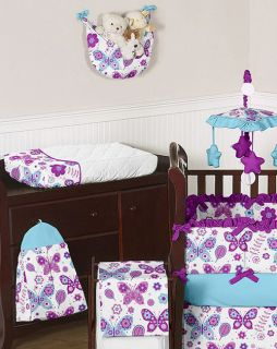 and White Flower Garden Butterfly Girl Baby Bedding 9P Crib Set