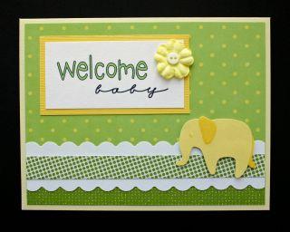 Handmade Card Welcome Baby Boy Girl Love Elephant New