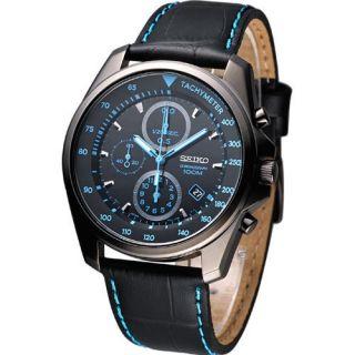 SEIKO Men Pilot Aviator Chronograph Watch Black Blue SNDD71P1