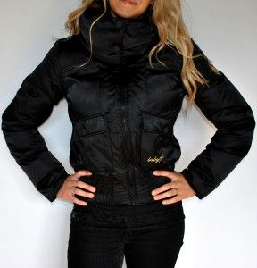 New Womens Baby Phat Down Filled Jacket Coat Black Gold Satin /Medium