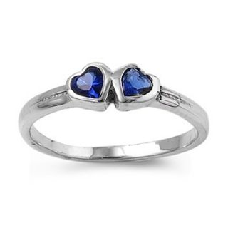 Silver Baby Ring Couple Heart with Blue Sapphie CZ Available in Size 1