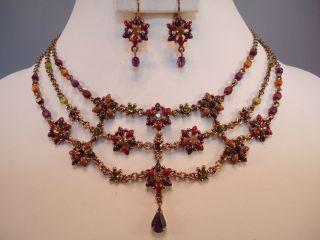 AVON NR Spice Blossom Wine Cranberry Enameled Flower Necklace Earrings