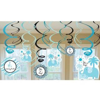 SWEET SAFARI BOY Blue SWIRL DECORATIONS ~ BABY SHOWER Party Supplies