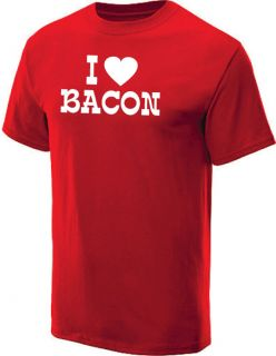 LOVE BACON T SHIRT COOL RETRO FUNNY TEE RED XL