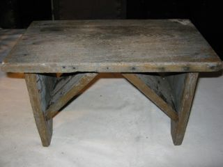 Antique Primitive Country Farm Wood Foot Stool Folk Art