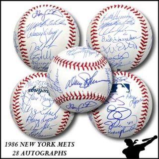 1986 New York Mets Team Signed Auto ROMLB Baseball Ball World Series