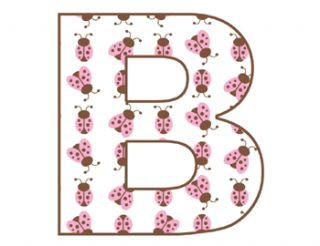 Ladybugs Bugs Alphabet Letter Pink Brown Baby Girl Nursery Wall