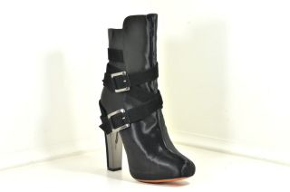 Brian Atwood Enrika Black Satin Mid Calf Suede Straps Buckle Boots