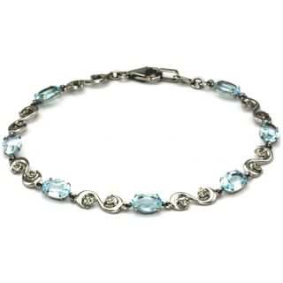 10k white gold baby blue color topaz and diamond bracelet
