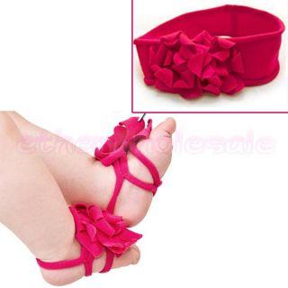 Set 1 Pair Gorgeous Baby Boy Girl Foot Flower Pram Shoes 1 Headband