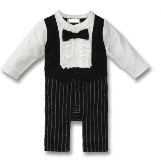 Baby Flower Boy Tuxedo Wedding Bridal Banquet Party Body One Piece
