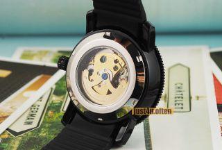 Fashion Army Black Silicon Mens Automatic Wrist Watch Skeleton Dial