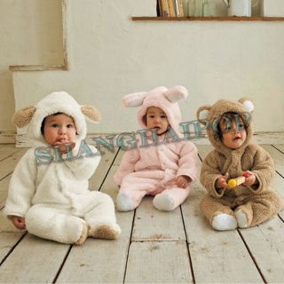 Bear Bunny Romper Hoodie Babygro Baby Infant Toddler Costume Jumpsuit