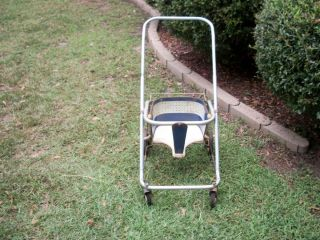 Vintage Antique Baby Stroller Carriage Pram Walker 40 50s Blue White
