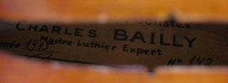 Old Fine French Violin Labeled Bailly ANNEE1915 Geige Violon Viola