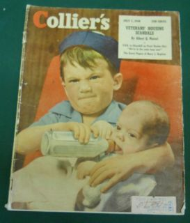 Magazine July 1948 Mad Young Boy Feeding Baby A Bottle