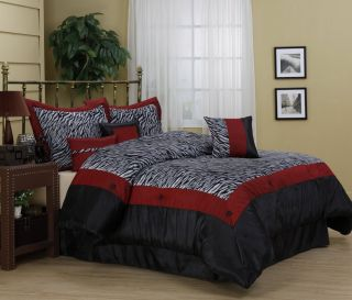 Sahara Zebra Pattern 7 Piece Comforter Set Bed in Bag Brand New