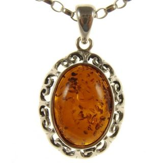 Baltic Amber Sterling Silver 925 Pendant Necklace Snake Chain