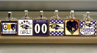 NFL Baltimore Ravens Football Scrabble Jersey Necklace Charm