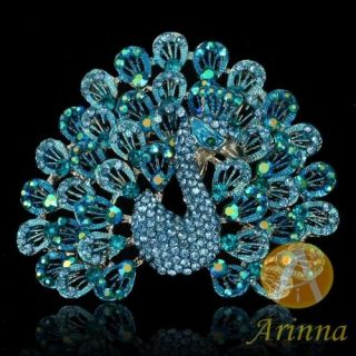 ARINNA Shining Blue Bird Rhinestone Fashion Brooch Pin 18K WGP