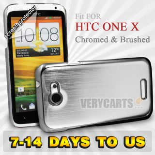 & Brushed AL Alloy Metal Hard Case Cover For HTC One X S720e SILVER