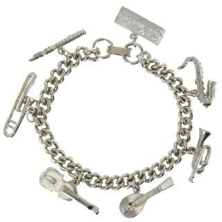 Silver Tone Musical Instrument Band Charm Bracelet