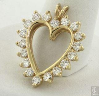 14k Gold Lovely Elegant 1 26ct Diamond Open Heart Pendant