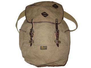 Ralph Lauren Polo Khaki Leather RL Co Backpack Canvas Book Bag Big