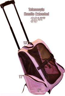 Pink 3 in 1 Dog Carrier on Wheels Backpack Car Seat Shoulder Straps
