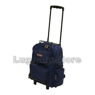 16 5 Navy Rolling Backpack Wheeled School Bookbag Travel Carry on Drop