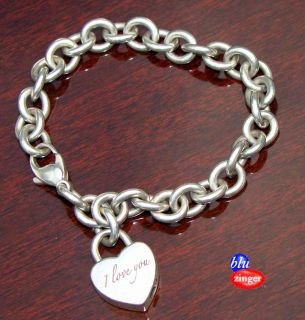 Tiffany & Co. 925 Sterling Silver I LOVE YOU Chain Link Heart Charm