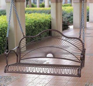 Durable Outdoor Patio Deck Backyard Iron Porch Swing Loveseat Bench