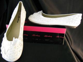 Womens White Ribbon Ballets Flats Dress Shoes Sizes 5 10 New