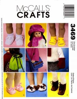 McCalls Pattern 3469 18 Doll Hat Bag Shoes Clothes