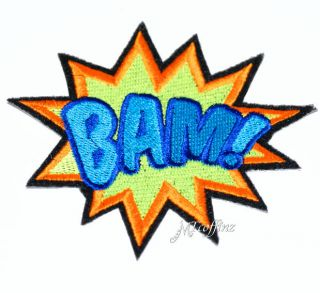 Bam Comic Book Words Starburst Neon Blue UV Iron on Embroidered Patch